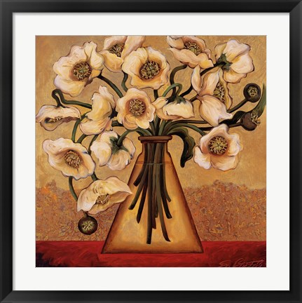 Framed White Autumn Poppies Print
