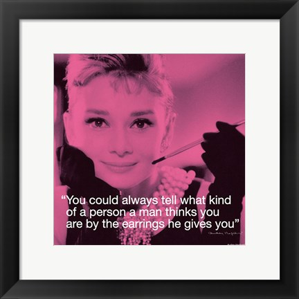 Framed Audrey Hepburn- Earrings Print