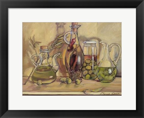 Framed Olive Oil Bottles Print