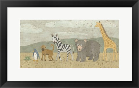 Framed Animals All in a Row II Print