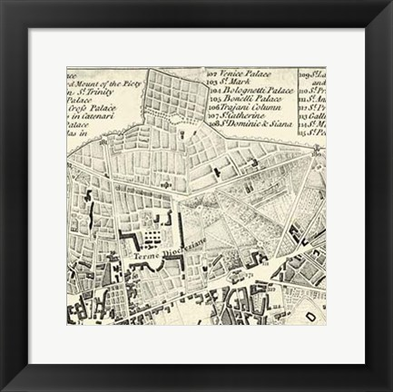 Framed City of Rome Grid II Print