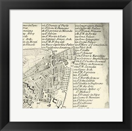 Framed City of Rome Grid III Print