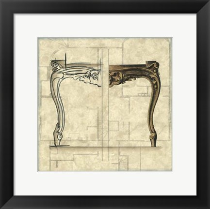 Framed Furniture Sketch I Print