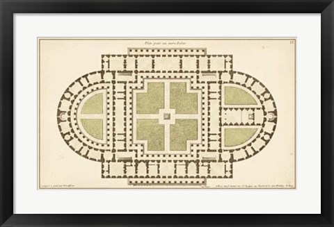 Framed Antique Garden Plan I Print