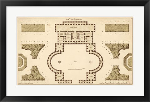 Framed Antique Garden Plan II Print
