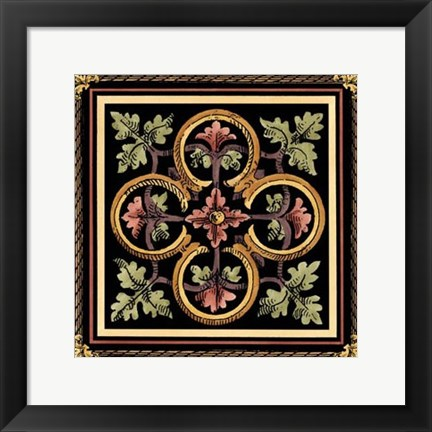 Framed Decorative Tile Design IV Print