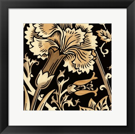 Framed Neutral Floral Motif I Print