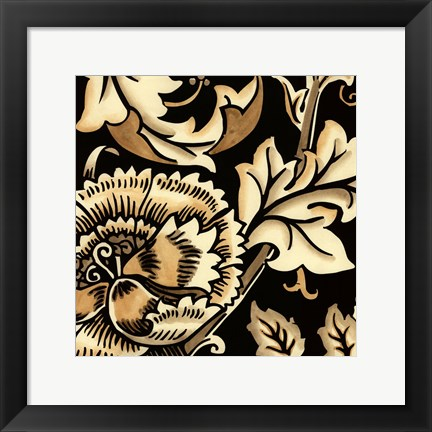 Framed Neutral Floral Motif III Print