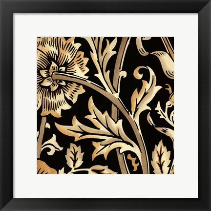 Framed Neutral Floral Motif IV Print