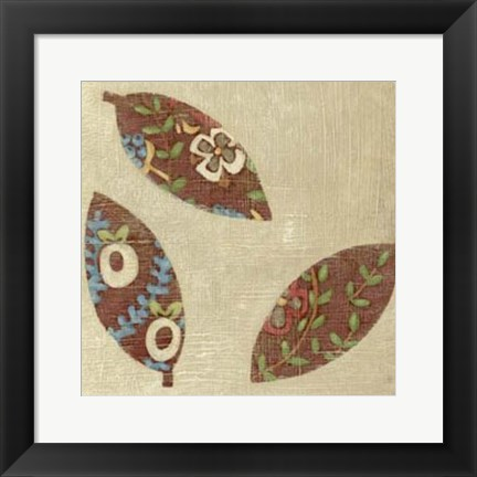 Framed Linen Leaves III Print
