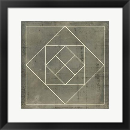 Framed Geometric Blueprint V Print