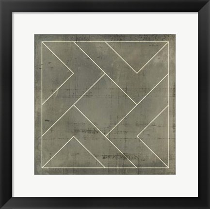 Framed Geometric Blueprint VI Print