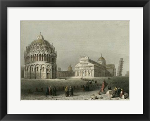 Framed Baptistry, Cathedral &Leaning Tower Print