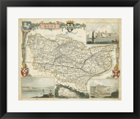 Framed Map of Kent Print