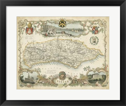 Framed Map of Sussex Print