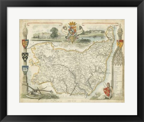 Framed Map of Suffolk Print