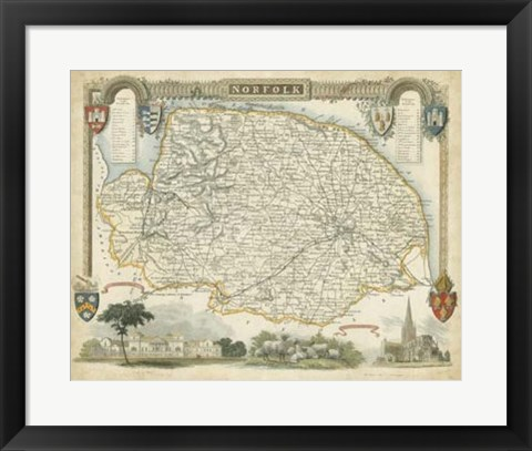 Framed Map of Norfolk Print