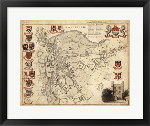 Framed Map of Cambridge Print