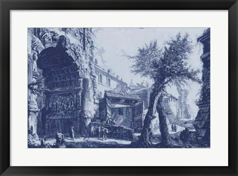 Framed Antique Blue View II Print
