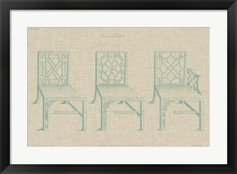 Framed Chinese Chippendale Chairs I Print