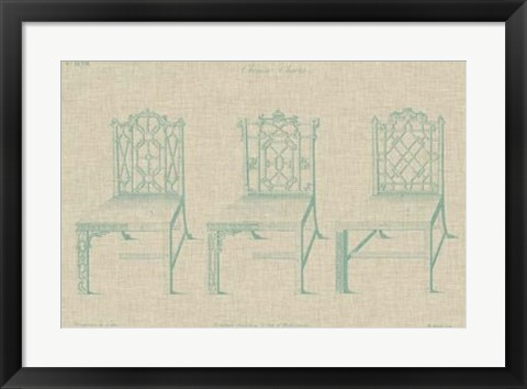 Framed Chinese Chippendale Chairs II Print