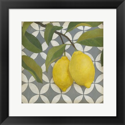 Framed Fruit and Pattern I Print