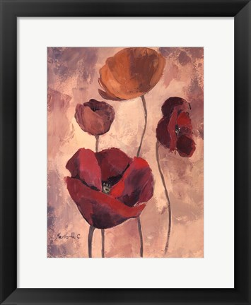 Framed Textured Poppies I Print