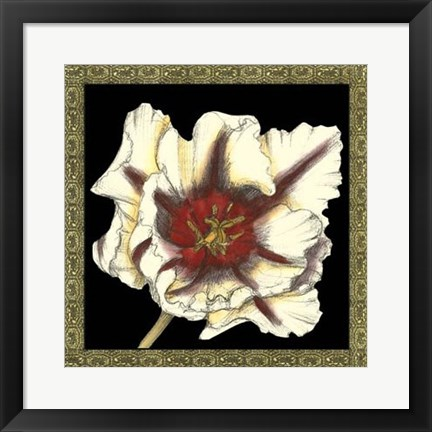Framed Patterned Flowers III Print