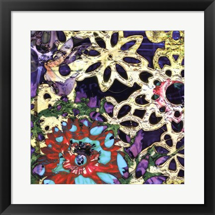 Framed Bejeweled Woodblock IV Print