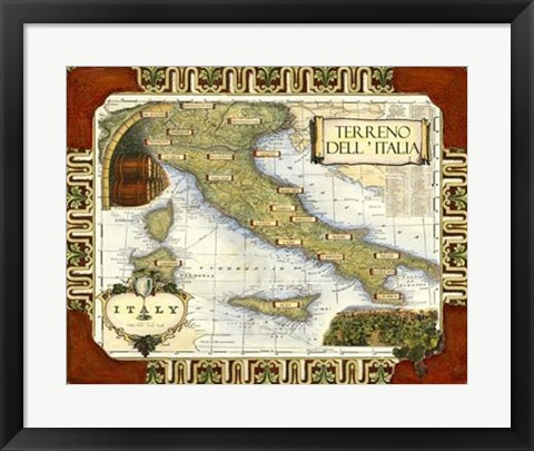 Framed Wine Map of Italy Print