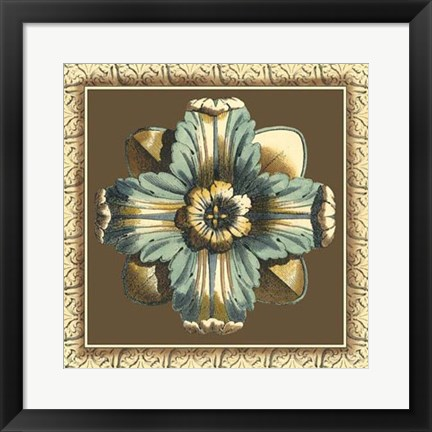 Framed Printed Chocolate & Blue Rosette II Print