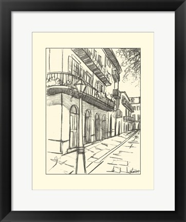 Framed B&W Sketches of Downtown I Print