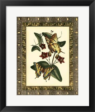 Framed Leather Framed Butterflies I Print