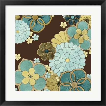 Framed Cascading Blooms in Teal II Print