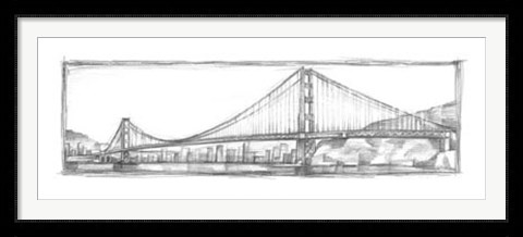 Framed Golden Gate Bridge Sketch Print