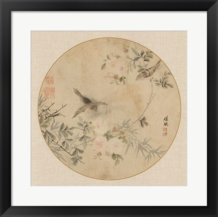 Framed Oriental Bird Silk II Print