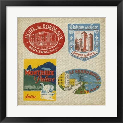 Framed Vintage Travel Collage I Print