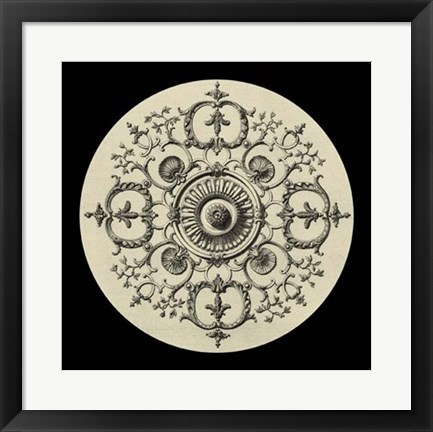 Framed Black & Tan Medallion I Print