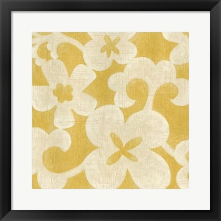 Framed Suzani Silhouette in Yellow II Print