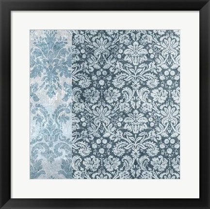 Framed Chambray Damask I Print
