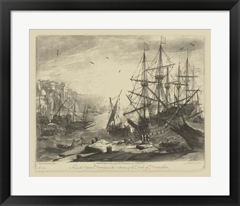 Framed Antique Harbor III Print