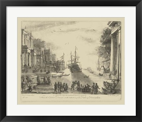 Framed Antique Harbor VI Print