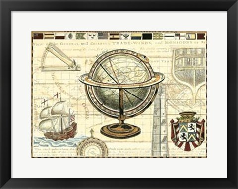 Framed Nautical Map II Print