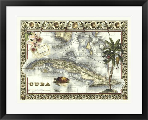 Framed Map of Cuba Print