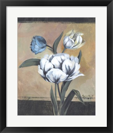 Framed White Tulips I Print
