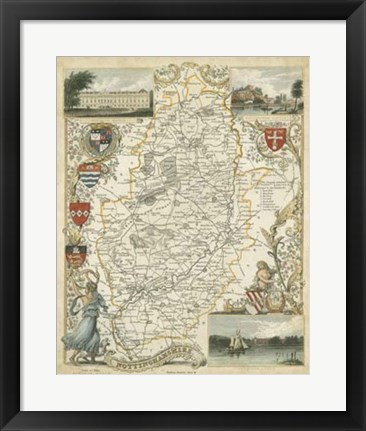 Framed Map of Nottinghamshire Print