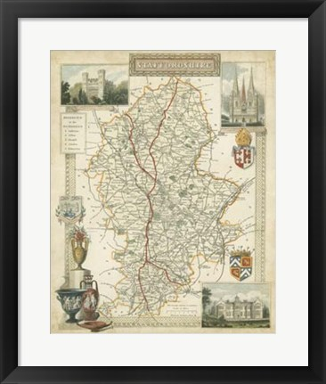 Framed Map of Staffordshire Print