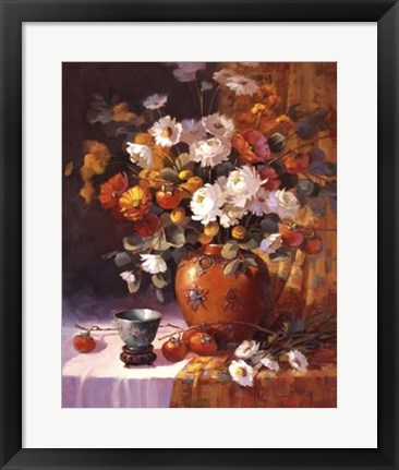 Framed Mums and Persimmons Print