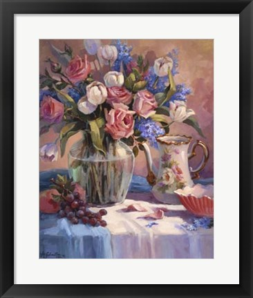 Framed White Tulips & Roses Print