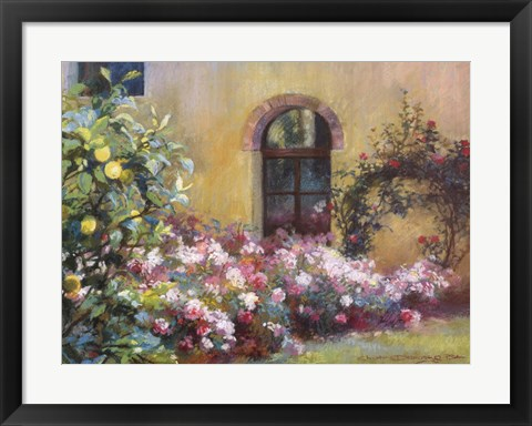 Framed Tuscan Lemons And Pink Print